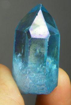 large Lemurian Aqua Aura Crystal   Quartz point by CoyoteRainbow, $35.00