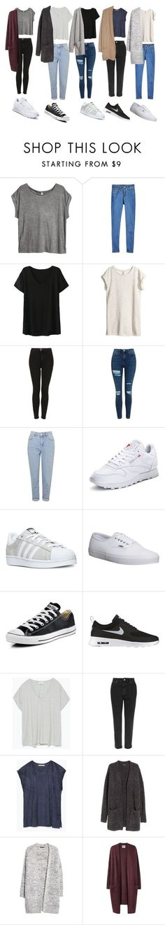 """Outfit of the week OOTW"" by leilabas �� liked on Polyvore featuring H&M, Topshop, Reebok, adidas, Vans, Converse, NIKE, Zara, MANGO and Acne Studios"