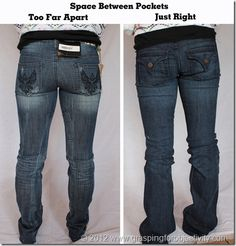 Photo illustrations on how to properly fit blue jeans to different bodies.