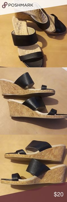 Malu Brazilian wedges Black leather & Cork wedges that are made for comfort. Excellent used condition. Make an offer! 20% off two or more items in my closet every day! Happy poshing! Size 9/10. Says US 9, Euro 40. Malu Shoes Wedges