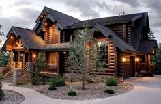 This is an Irish Log Cabin and one of my favourite log homes of all time. This design by an Irish company (EGF log homes). Future House, My House, House Floor, House Kits, Plan Chalet, Timber Frame Homes, Timber Frame Home Plans, Log Cabin Homes, Log Cabin Exterior