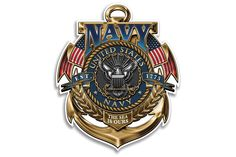 U.S. Navy The Sea Is Ours Gold Badge Reflective Decal from Mustang Loot