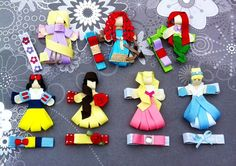 Disney Princess YOU PICK 3 ribbon sculpture hair clips with matching Clippies
