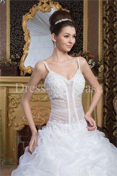 Beading A-Line Hourglass Spaghetti Straps Wedding Dress #wedding #weddingdress #weddinggown #weddingfashion #wedding2015