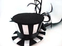 Betelgeuse Black & White Stripe Mini Top Hat - Beetlejuice Costume Beetlejuice Top Hat Burlesque Top Hat Striped Mini Top Hat