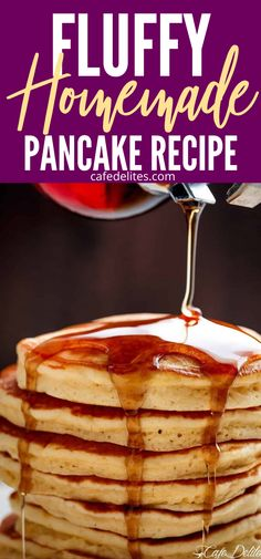 Whip up a batch of homemade fluffy pancakes. The perfect way to start the day. Make and freeze these pancakes for meal prepping later on. #pancakes #breakfast #fluffy #homemade #mealprep #fromscratch Peanut Butter Bon Bons, Healthy Peanut Butter, Healthy Food, Healthy Recipes, Homemade Pancakes Fluffy, Fluffy Pancakes, Breakfast Specials, Breakfast Time, Breakfast Ideas