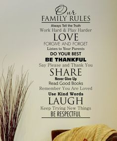 Take a look at this Black 'Family Rules' Wall Quote by Wallquotes.com by Belvedere Designs on #zulily today!