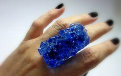 MAXI ANEL vidro importado  azul transparente  base metal n 20 - ajustável   5 x 2,5 cm R$42,00