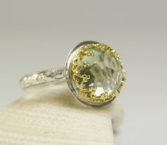 Green Amethyst Ring 14k Gold Sterling Silver Natural Faceted Genstone Handmade-made to order in your size. $155.00, via Etsy.