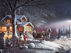 (usa) Snowball fight by Thomas Kinkade born in California. Christmas Scenes, Christmas Art, Winter Christmas, Country Christmas, Christmas Puzzle, Beautiful Christmas, Christmas Mantles, Christmas Villages, Christmas Animals