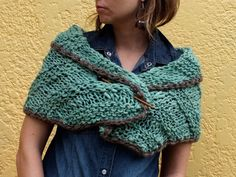 Pure wool capelet or shawl Hand knit neckwarmer or par AMIknit, $60.00