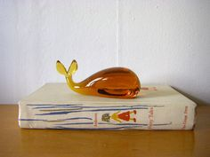 Amber Glass Whale Paperweight by MannHandledVintage on Etsy, $13.00