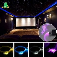 Make a room looks like it is filled with stars by using our Star Ceiling Light Kit. Each kit comes with a 150 strips fiber optic lights. Home Theater Room Design, Movie Theater Rooms, Home Cinema Room, Game Room Design, Home Theater Lighting, Theater Room Decor, Fiber Optic Ceiling, Star Lights On Ceiling, Home Theater