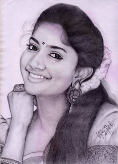 Sai pallavi charming look Abstract Pencil Drawings, Pencil Drawings Of Girls, Pencil Sketch Drawing, Dark Art Drawings, Art Drawings Beautiful, Art Drawings Sketches, Drawing Pictures, Portrait Sketches, Pencil Portrait