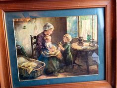 Bernard de Hoog painting/print? But signed by a completely different name that I cannot read. Its a mystery why a forger would sign this and not use the artists name. De Hoog did countless paintings of this small family in this room. Google his name. Its all he painted.   Whimsical painting of family setting covered in glass. Mother, children and toys, sitting enjoying their evening.  I don't know how old it is but from the back, it appears to come from around the 1950's. There are a few…