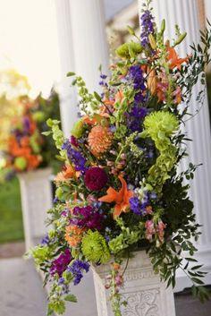 Virginia Red Orange Fall Country Club Wedding David Abel Photography Ceremony Floral Arrangements 275x412 SaraBeth + Jamies Modern Country Club Wedding in Ashburn, Virginia