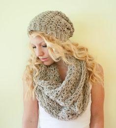 Slouchy hat beanie crocheted - oatmeal - wool