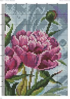 Вышивка розовой пионы схема