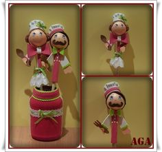 cucharas fofuchas Projects To Try, Baby Shower, Diy Crafts, Christmas Ornaments, Holiday Decor, Aga, Collages, Doll, Pens