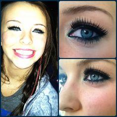 4th of July makeup. Silver eyeshadow, blue eyeliner, Katy Perry's eyelashes, and bright red lipstick. Done by yours truly!