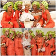 Top Aso-ebi color combination ideas for 2015 Bridesmaids And Groomsmen, Wedding Bridesmaids, Wedding Attire, Wedding Dresses, African Print Wedding Dress, African Bridesmaid Dresses, African Women, African Fashion, Nigerian Fashion