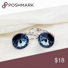 "Blue Austrian Crystal Platinum Plated Earrings Blue Austrian Crystal Real Platinum Plated Earrings . Fashion Earrings / Water Drop / Dangle / Vintage / Crystal   •Materials: 100% 18K Real Platinum Plated, AAA+ Cubic Zirconia Stone •Main Gem Size: 0.47"" •Condition: New Jewelry Earrings"