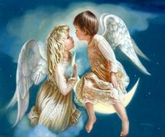 Tow angels kissing the girl angel is sitting on a cloud  and boy Angel sitting on the moon