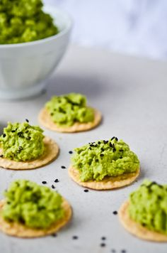 Edamame dip! Beautiful colour, a lot of my favorite flavors. Would be good inside a wrap or on sesame-rice crackers!