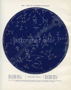 Dec / Jan Night Sky Constellations Star Chart by SaturatedColor, $32.00