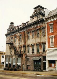 The National Block Building in Wabash, IN. Built in the 1870s in the Second Empire style. This was before a comprehensive restoration a few years ago.