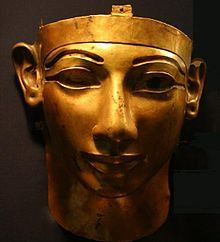 Gold funerary mask of Shoshenq II, reign 887-885 BC, 22nd dynasty.