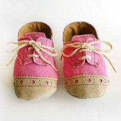 Baby Girl Shoes Bright Pink Canvas with Brogued Beige by ajalor, $33.00