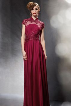 Burgundy Mandarin Collar Modest Lace Formal Evening Dress | JoJo's Shop