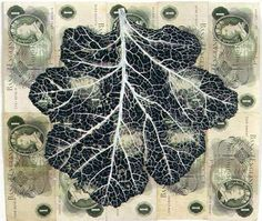 Fiona Hall Leaf Litter - Sea Kale gouache on bank notes
