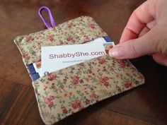 Pretty Giftcard Holder | Floral fabric wallet | Business card organiser | Xmas colleague gift | Upcycled fabric purse | Credit card case by ShabbySheUK on Etsy