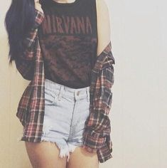High waisted distressed denim shorts, Nirvana muscle tank, and a plaid button up. High waisted distressed denim shorts, Nirvana muscle tank, and a plaid button up. Hipster Grunge, Moda Hipster, Mode Grunge, Style Grunge, Grunge Look, Vintage Hipster, Indie Hipster, Grunge Girl, 90s Grunge