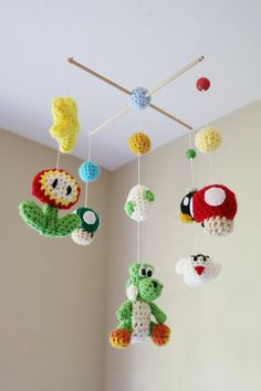 Crochet Yoshi & Friends Crib Mobile Ready To Ship by AmiAmigos