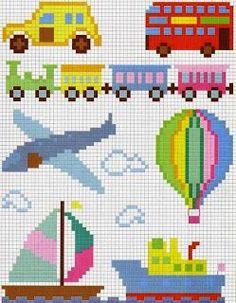 Art's full, Embroidery in Cross Stitch: Babies Pixel Crochet Blanket, Crochet Chart, Cross Stitch For Kids, Cross Stitch Baby, Beaded Cross Stitch, Cross Stitch Embroidery, Cross Stitch Designs, Cross Stitch Patterns, Kids Patterns