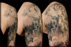 Black And Grey Tattoos, Crane, Blood, Sleeve, Manga, Black And Gray Tattoos