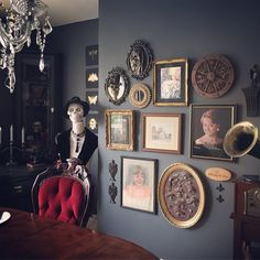 Victorian Gothic dining room with gallery wall - @SuzyHomemakerUK | Dark dining room | skull home | dark gallery wall