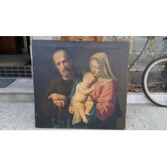 Dipinto olio su tela - Sacra Famiglia - primi '900