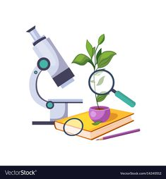 Botany kit with microscope and plant in pot set Vector Image Science Art, Science Activities, Science And Nature, Science Classroom Decorations, School Decorations, Scientist Cartoon, Little Girl Cartoon, Anger Management Activities, Chemistry Art