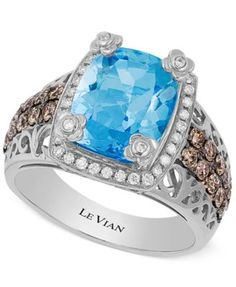 Le Vian Ocean Blue Topaz (4 ct. t.w.) and Diamond (3/4 ct. t.w.) Ring in 14k White Gold