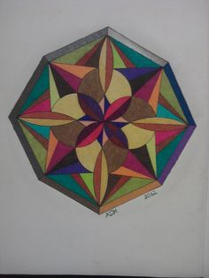 """""""Octagonal mandala"""" from Mandala coloring book by Dover Publications. Colored with Prismacolor Premier soft core colored pencils, 2012, adh."""