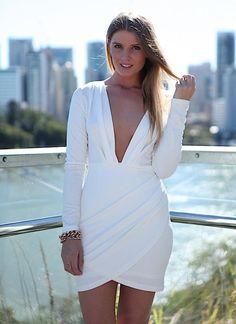 Women's #Fashion Clothing: #Dresses: White Plunge Neckline Long Sleeve Drape Skirt Dress, Dress, white plunge neckline drape skirt, Chic: Clothes