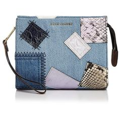 Marc Jacobs Denim Patchwork Clutch (3.167.630 IDR) ❤ liked on Polyvore featuring bags, handbags, clutches, blue purse, marc jacobs, marc jacobs handbags, patchwork purse and denim handbags