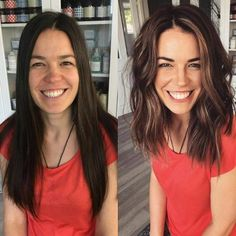 Mind Blowing Hair Transformation Before & After Photos - Gallery OM. - Mind Blowing Hair Transformation Before & After Photos – Gallery OMG-Worthy Transfor - Brown Blonde Hair, Brunette Hair, Brunette Mid Length Hair, Brown Lob, Dark Blonde, Black Hair, Dark Brown, Short Wavy Hair, Thin Hair