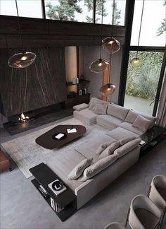 Home Room Design, Dream Home Design, Modern House Design, Living Room Designs, Home Interior Design, Modern Houses, Art Deco Interior Living Room, Home Living Room, Living Spaces