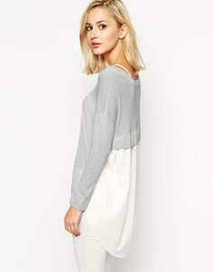 River Island Woven Back Jumper via ASOS