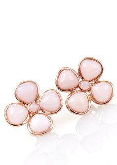 ICE.COM Pink Opal Flower Pin Earrings